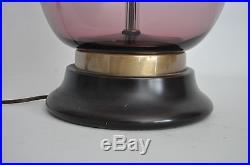 HUGE MARBO Vtg Mid Century Modern Amethyst Glass Table Floor Lamp Swedish Sweden