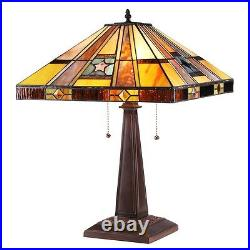 Handcrafted Mission Tiffany Style Stained Glass 2 Light Table Lamp 16 Shade