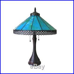 Handcrafted Mission Tiffany Style Stained Glass Table Lamp 16 Shade 23 Tall