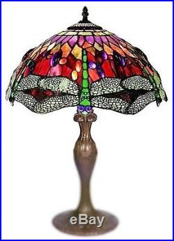 Handcrafted Tiffany Style Stained Glass Dragonfly Table Lamp