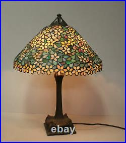 Handel Antique Electric Table Lamp with detailed Leaded glass Lamp shade Handel