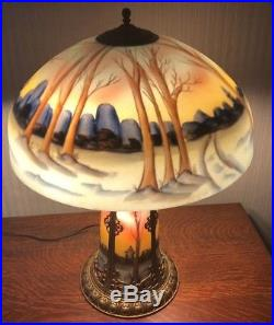 Handel Chipped Ice Reverse Glass Painted Table Lamp With Lighted Base