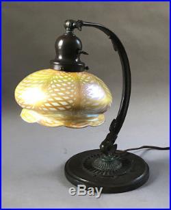 Handel Large Adjustable Desk Lamp with Quezal Iridescent Glass Shade