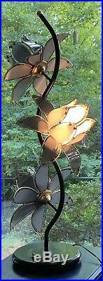 Hollywood Regency Art Deco 3 GRAY Glass Lotus Mid Century Lamp 13 Flowers H-40