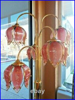Incredible Glam Vintage Pink Glass & Brass Large 36 Lotus Flower Lamp