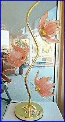 Incredible Glam Vintage Pink Glass & Brass Large 40 Lotus Flower Lamp