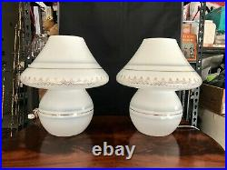 Incredible Vintage Murano Glass Mushroom 14.5 Table Lamps rare decorated pair