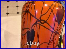Iridescent orange and black Durand Imperial heart and vine table lamp 1930 nice