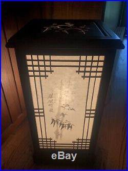 Japanese Shoji Table/Floor Lamp Glass Wood Window Pane Lantern Box Night Light