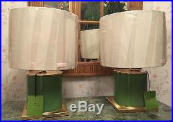 Kate Spade Pair Green Glass Cylinder Table Lamp With Cream Shade New With Tags