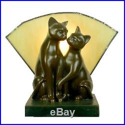 Kissing Cats Table Lamp Stunning Cat Lamp Tiffany Glass Fan