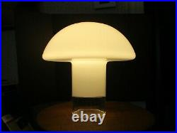 Lamp Mid Century Mushroom Shape White & Clear Glass Table Lamp 15 in tall x 15