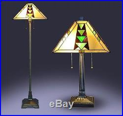Lamp Set Tiffany Style Living Room Floor Table Mission Craftsman Stained Glass
