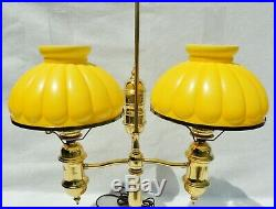 Large Antique/Vtg Yellow Cased Ribbed Glass Brass Double Student Desk Table Lamp