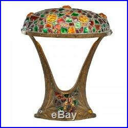 Large Art Nouveau Austrian Table Lamp With Fish at Base