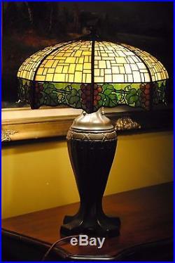 Large Arts&Crafts, Nouveau Era Handel Leaded Slag Glass Lamp
