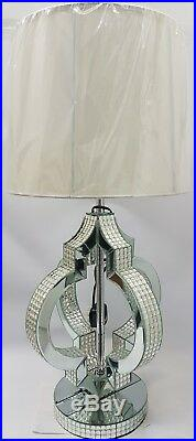 Large Table Lamp Sparkly Diamond Strip Crystal Silver Mirrored