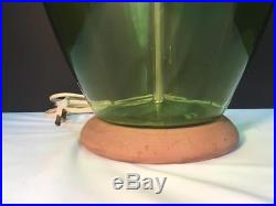 Large Vintage BLENKO Green Glass Table Lamp with Finial Mid Century Modern