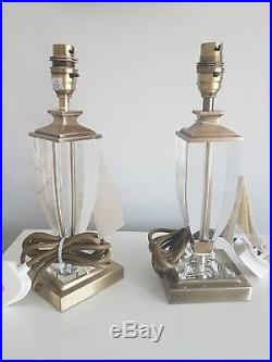 Laura Ashley pair of Antuiqe brass petite Carson Lamp Bases