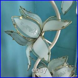 Laurel Lotus White Flower Enamel Metal Brass Floor Table Lamp 3 Way Vtg MCM