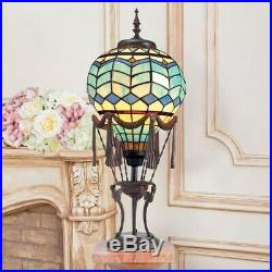 Le Flesselles Hot Air Balloon Illuminated Design Toscano Stained Glass Lamp