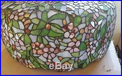 Leaded or stained glass lamp shade, large with vine top shade only