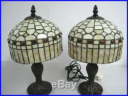 Lot of 2 14 Vintage Tiffany Style Table Lamp Multi-Color Stained Glass