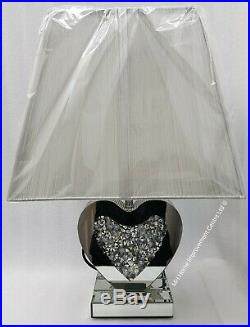 Love Heart Shaped Table Lamp Sparkly Diamond Crush Crystal Silver Shade Bedside