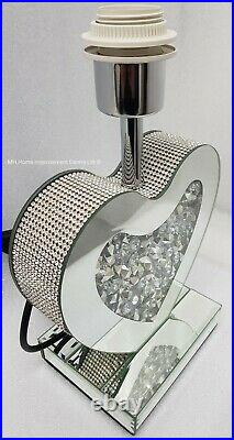 Love Heart Table Lamp Sparkly Diamond Crush Crystal Conical Silver Shade Bedside