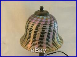 Lundberg Studios Iridescent Optic Art Glass Boudoir Table Lamp Light Signed Mint