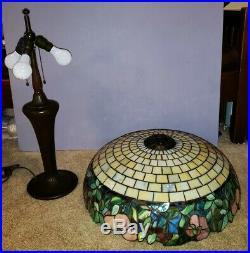 MASSIVE signed Handel Arts & Crafts Leaded Slag Stained Glass Lamp Tiffany Era