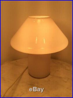 MCM CONRAN S Handblown White Opaque Art Glass Mushroom Table Lamp England