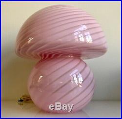 MID Century Murano Glass Swirl Mushroom Table Lamp Vetri Murano Italy Venini