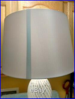 MURANO Blue & WHITE RIBBON SWIRL ITALIAN GLASS TABLE LAMP 35 in