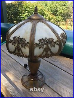 Magnificent Antique Caramel Slag Glass Table Lamp Flowers Overlay