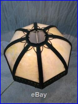 Magnificent Antique Panel Stained Glass Table Lamp & Shade With Art Nouveau Base