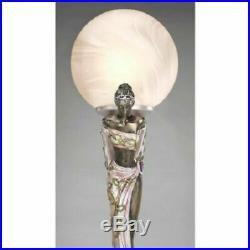 Maiden Muses Statue Frosted Glass Globes Illuminated Sculpture Lamp Art Deco