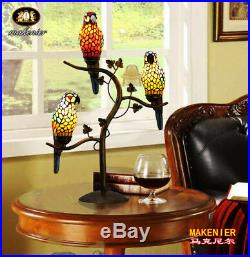 Makenier Vintage Tiffany Style Stained Glass 3-light Parrot Table Lamp