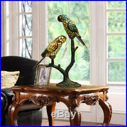Makenier Vintage Tiffany Style Stained Glass Double Parrots Big Table Lamp