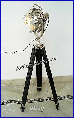 Marine Floor Lamp Vintage Design Wooden Tripod Lighting Searchlight Spot light