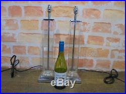 Matching Pair Of Large MID Century Style Glass Table Lamps
