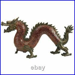 Medieval Dragon Dance of Light Illuminated Mosaic Glass Sculpture Lamp