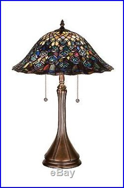 Meyda Tiffany 22 Inch H Tiffany Peacock Feather Table Lamp Stain Glass