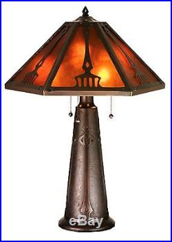 Meyda Tiffany 29H Grenway Amber Mica Table Lamp Arts and Craft Style 98516