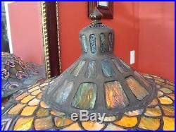 Meyda Tiffany stained leaded glass tiffany peacock feathers Ink well table lamp