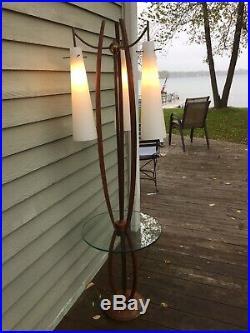 Mid Century Danish Modern Walnut Wood, Brass And Glass Floor Side Table Lamp MCM