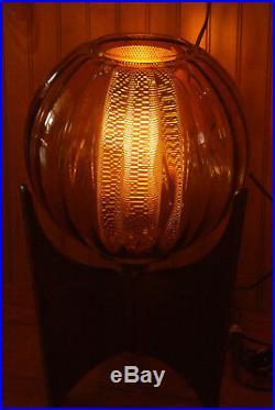 Mid Century Danish Modern Wood Glass Amber Globe Table Lamp