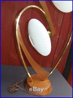 Mid Century Danish Table Lamp UFO Glass Shades