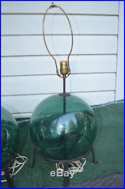 Mid Century Fishing Float Glass Ball Table Lamps 1940's-50's Vintage Nautical #2