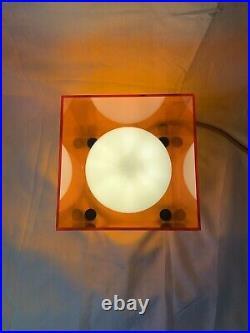 Mid Century Laurel Style Orange Perspex Box Table Light With Milk Glass Globe